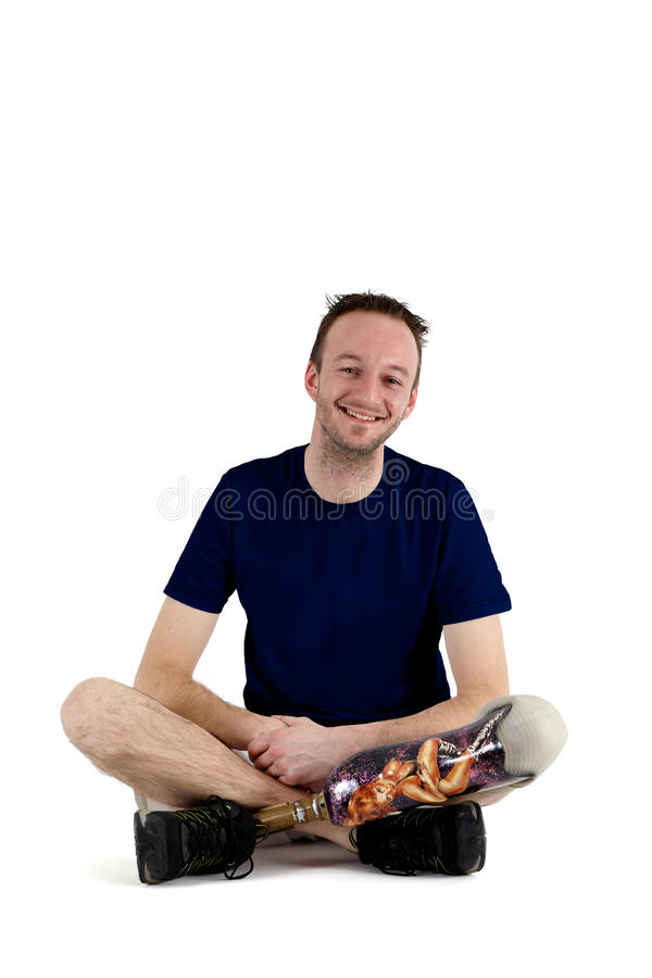 Happy Positive Male Amputee Royalty Free Stock Photography