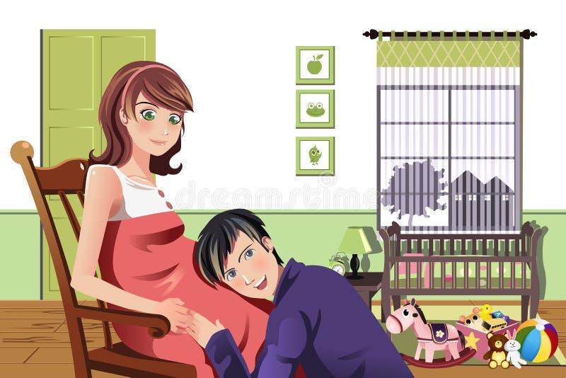 Happy pregnant couple stock illustration