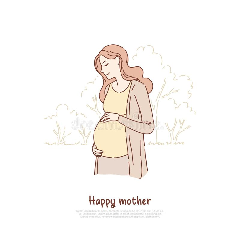 Happy pregnant, expectant woman, smiling lady awaiting baby, feminine happiness, new life, childbirth, pregnancy banner. Young mother expecting child concept royalty free illustration