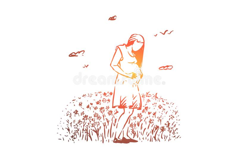 Happy pregnant lady awaiting baby, female happiness, pregnancy, mother expecting child, new life. Young expectant woman outdoor, childbirth concept sketch vector illustration