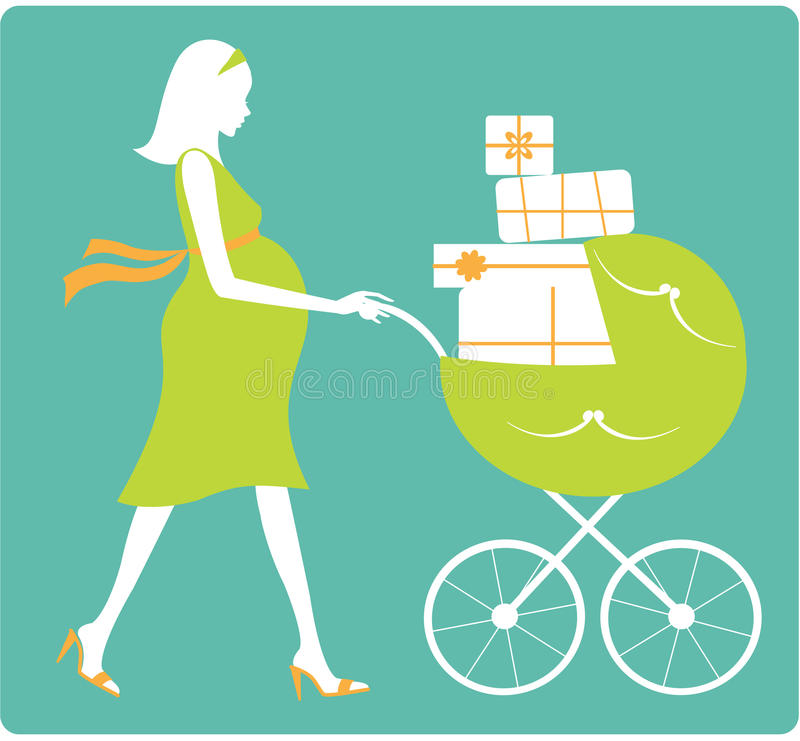 Happy pregnant woman stock illustration