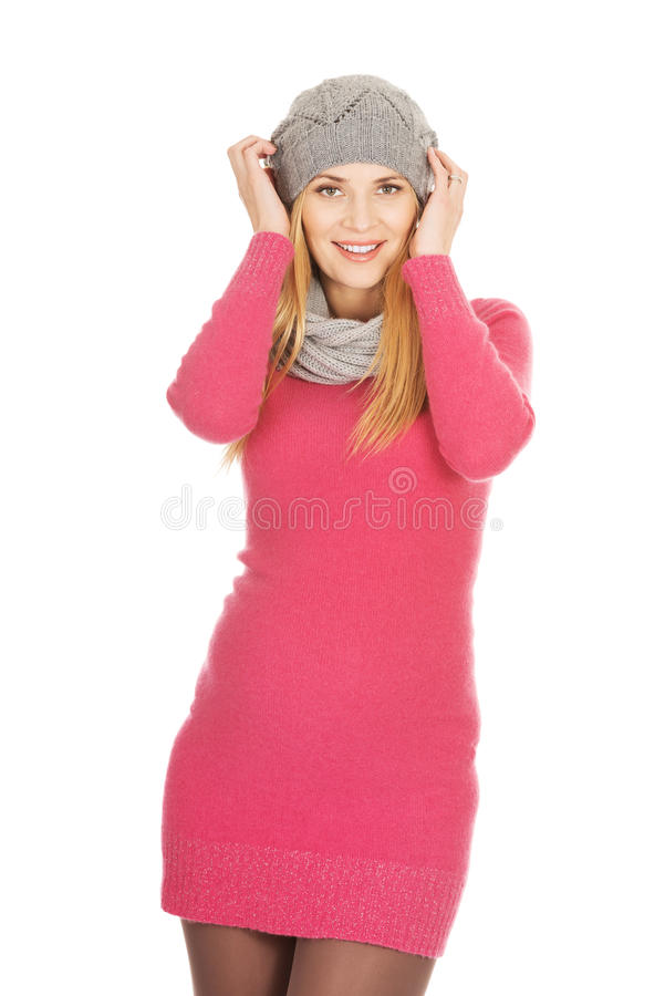 Happy pregnant woman in outerwear royalty free stock photo