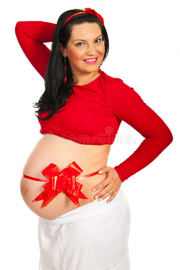 Happy  Pregnant Woman With Red Ribbon Stock Image