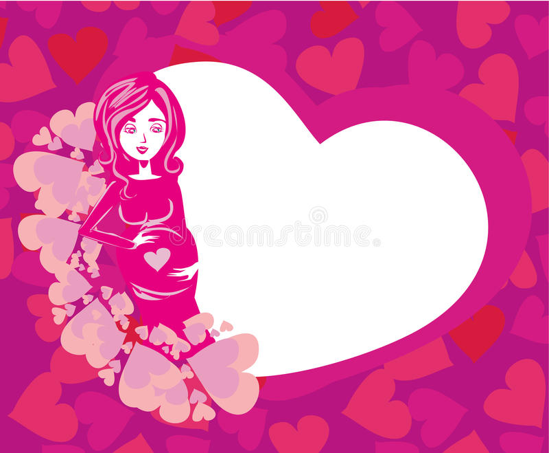 Happy pregnant woman. Shower card with happy pregnant woman royalty free illustration