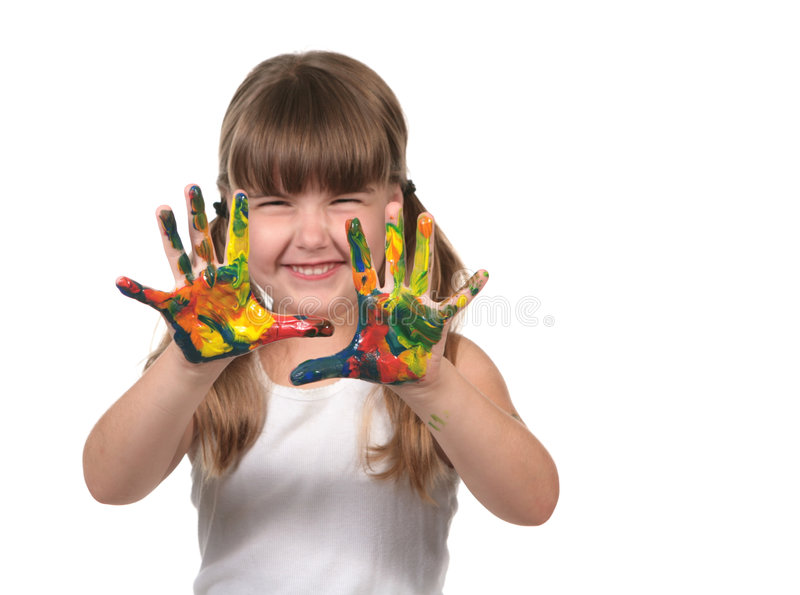 Happy Preschool Child Finger Painting. On White Background stock image