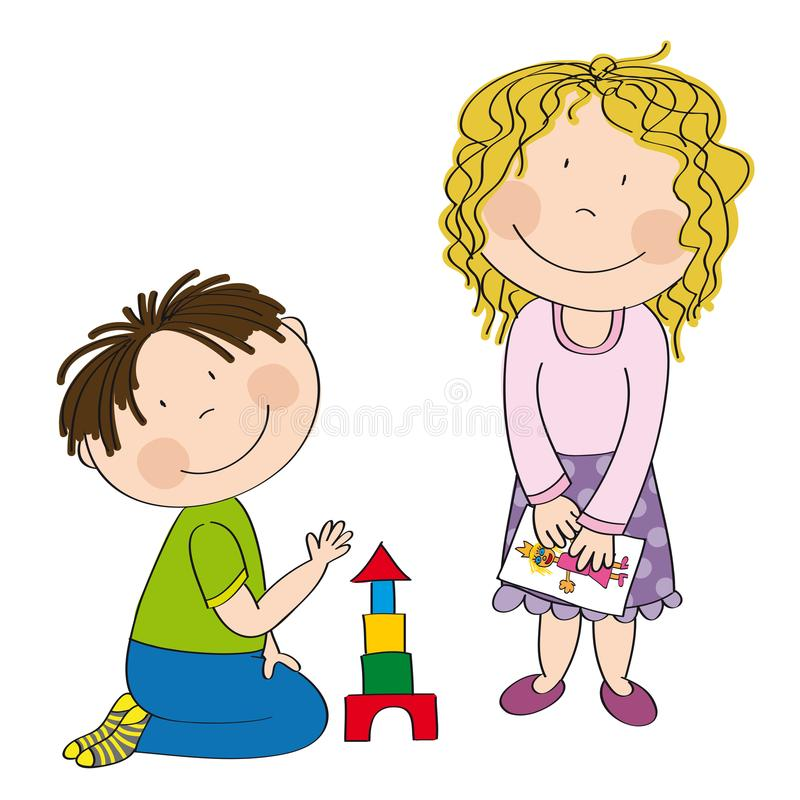 Happy preschool children boy and girl playing together stock illustration