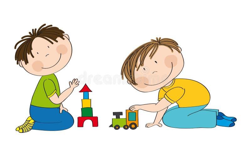 Happy preschool children two boys playing together. royalty free illustration