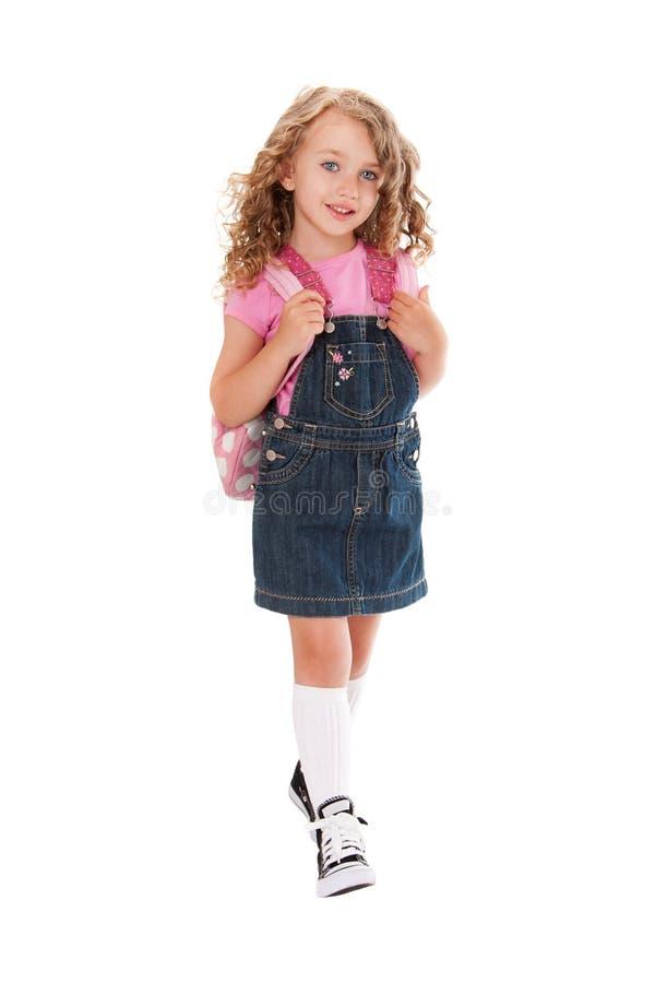 Happy preschooler walking to school royalty free stock images