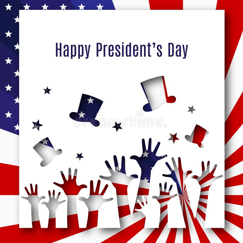 Happy President day text banner hands hats on american flag background Patriotic american theme USA flag pattern stars stripes. Happy President day text banner vector illustration