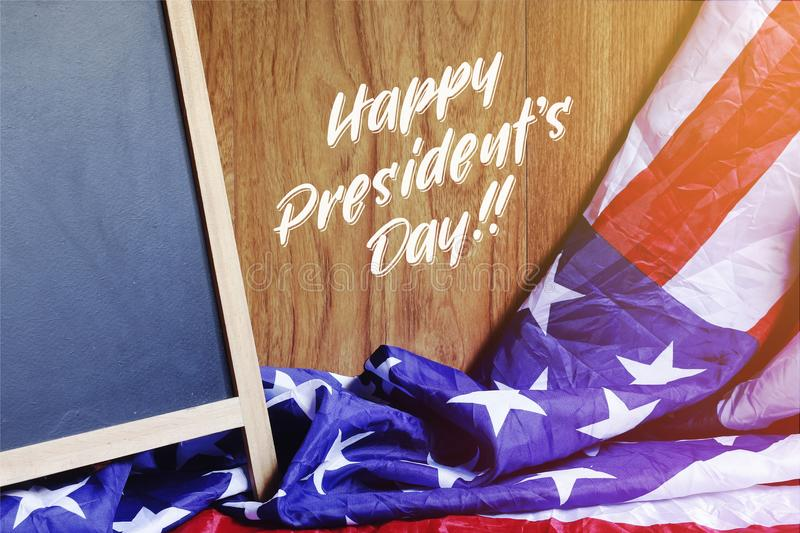 Happy President`s Day Typography and USA Flag Scene stock photos