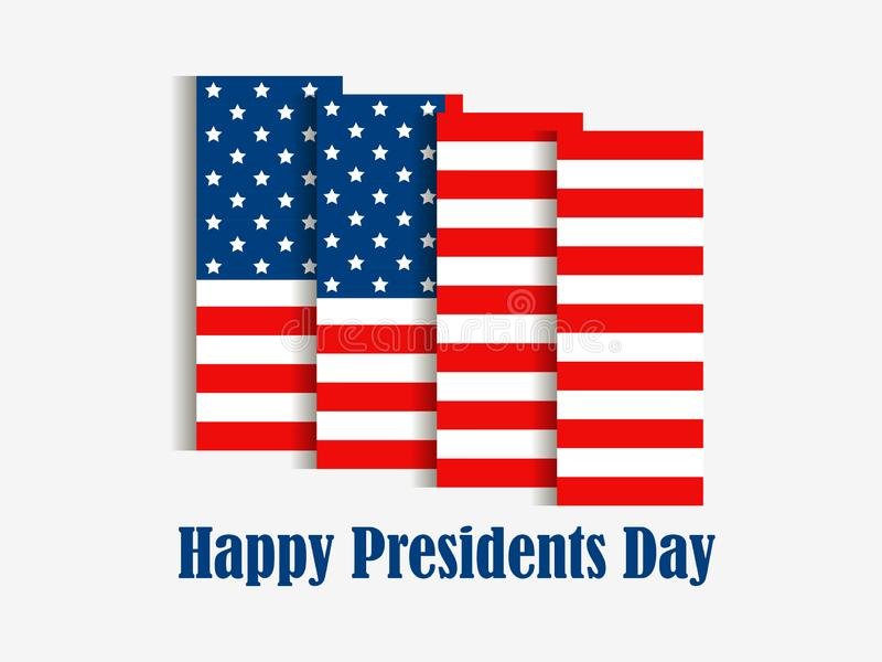 Happy Presidents Day. American flag with shadow on white background. Vector vector illustration