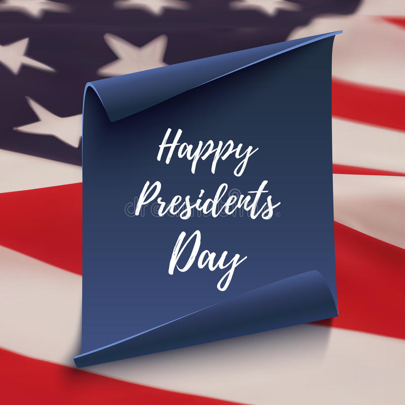 Happy Presidents Day background on blue curved paper banner. vector illustration