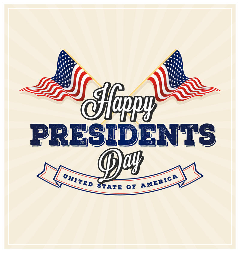Happy Presidents Day Background. And symbols with USA wavy flag. Vector illustration stock illustration