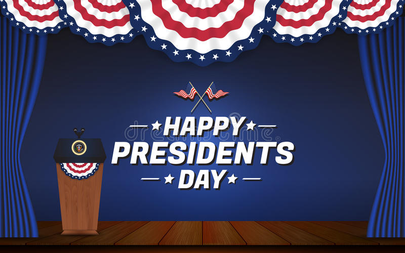 Happy presidents day background. USA presidential podium and stage stock illustration