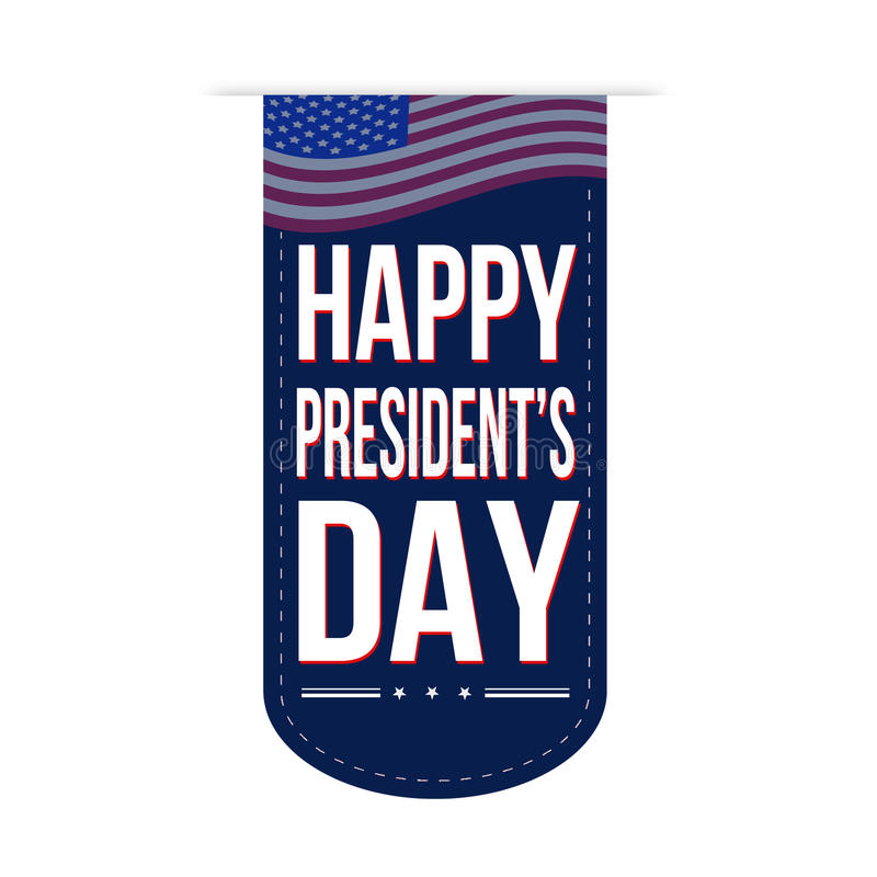 Happy Presidents Day banner design stock illustration