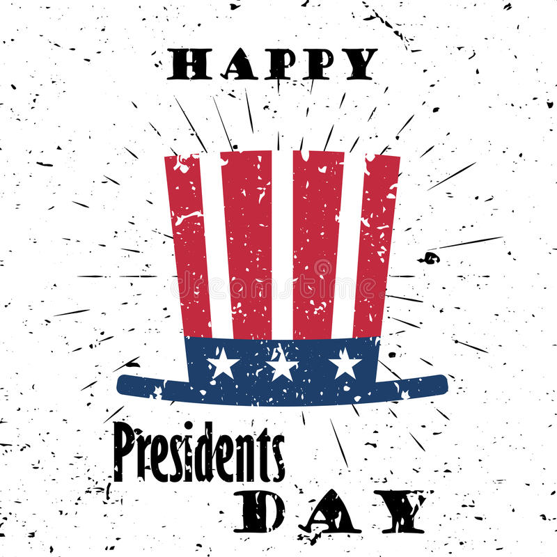 Happy Presidents Day Black Lettering Typography with burst on a Old Textured Background. Vector illustration for cards vector illustration