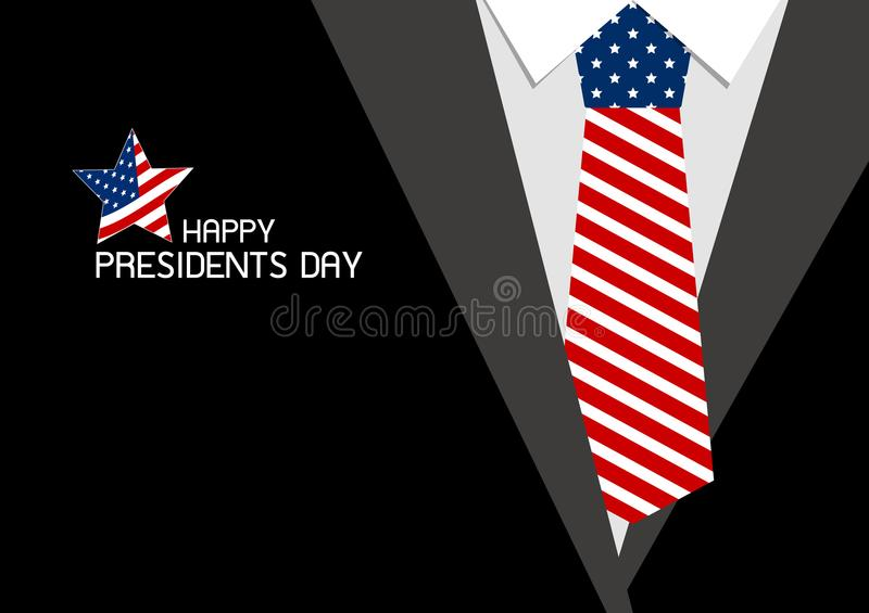 Happy presidents day design of USA necktie. Vector illustration vector illustration