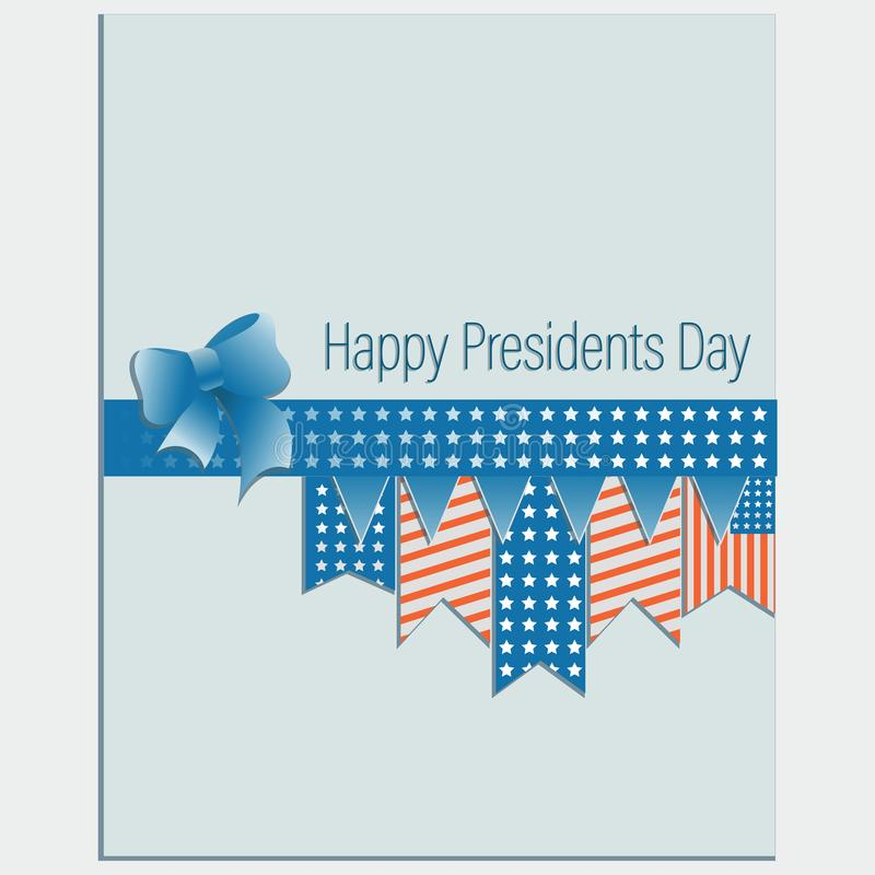 Happy Presidents Day. Greating card. Design with elements of US symbols on a light background royalty free illustration