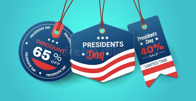 Happy presidents day holiday sale concept american flag colors price paper label tags set with text special offer vector illustration