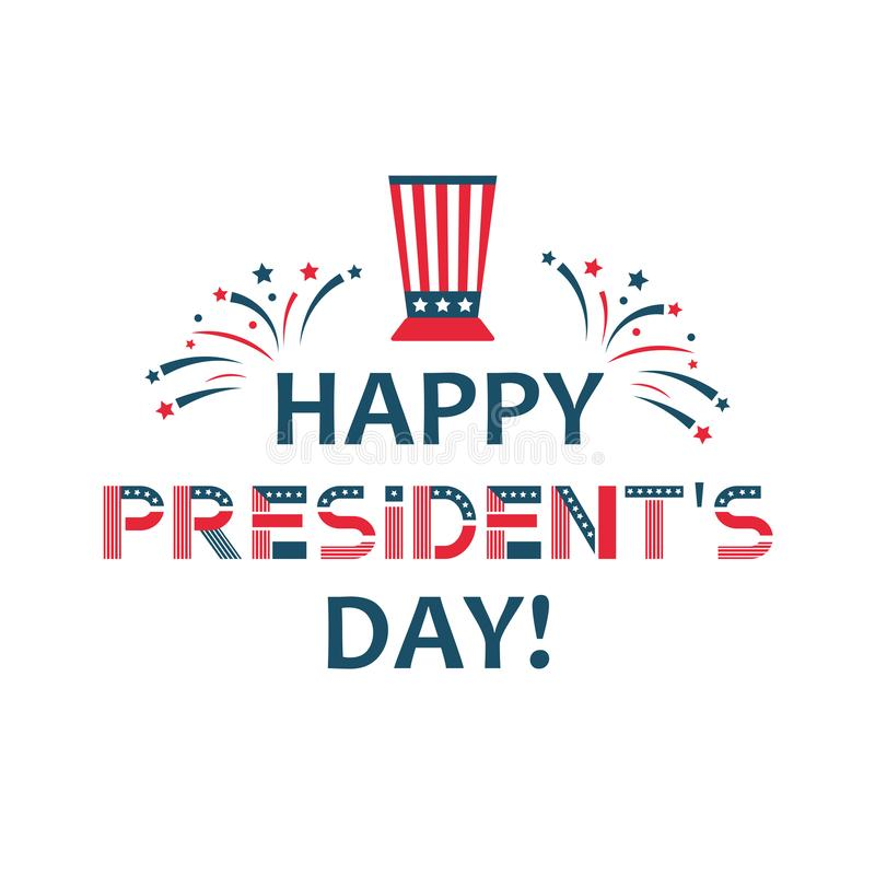Happy presidents day label. United States federal holiday vintage poster, festive country political third Monday in royalty free illustration