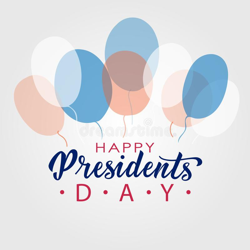 Happy Presidents Day lettering in USA. Typographic design. Hand lettering illustration for greeting card, poster, banner royalty free illustration