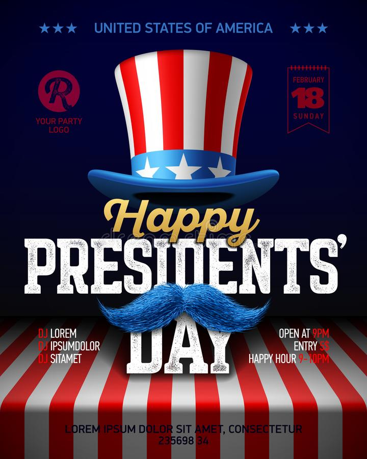 Happy Presidents Day party poster. Happy Presidents` Day party poster design with collage of USA flag party hat, moustache and vintage Happy Presidents Day royalty free illustration