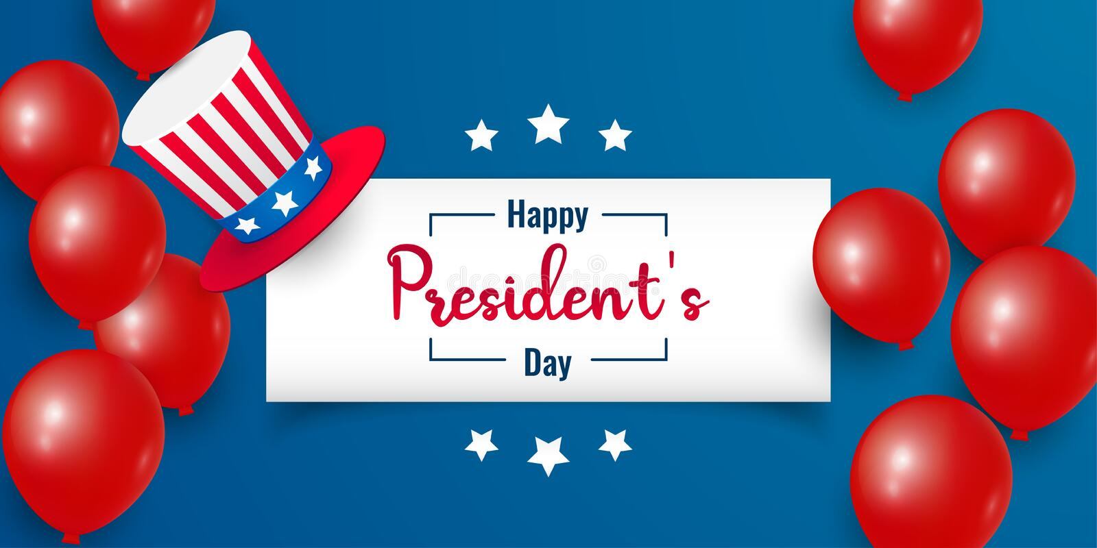 Happy Presidents Day with stars, balloons and hat. Vector illustration background text lettering for President`s day in USA. Perfect for greeting card, sale vector illustration