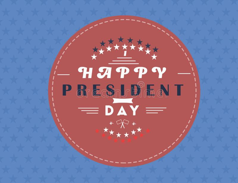 Happy Presidents Day with stars and ribbon. illustration Hand drawn text lettering for Presidents day in USA. Calligraphic design stock illustration