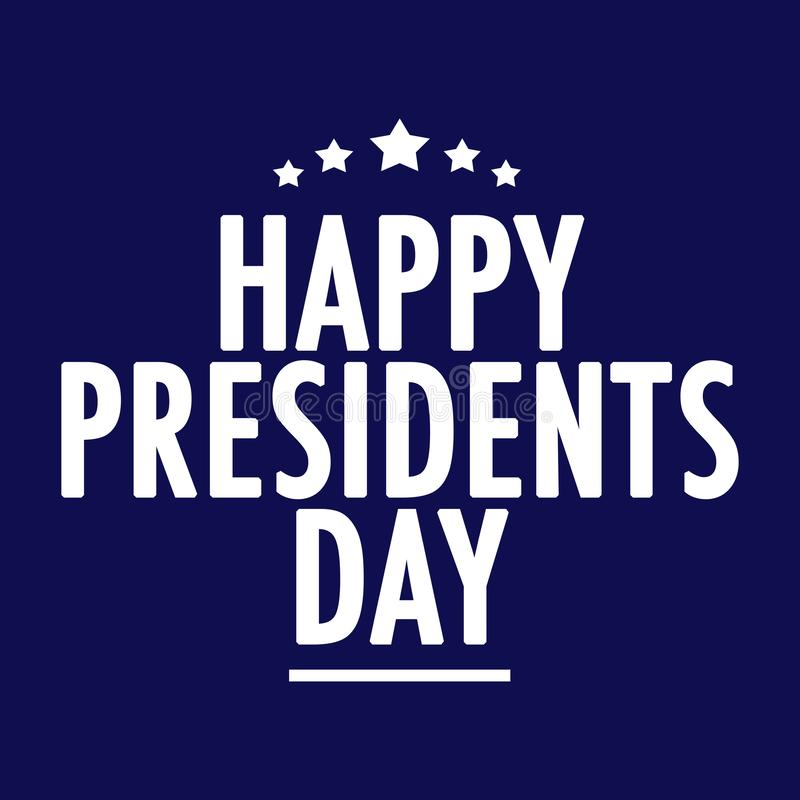 Happy Presidents Day Text. On dark blue vector illustration