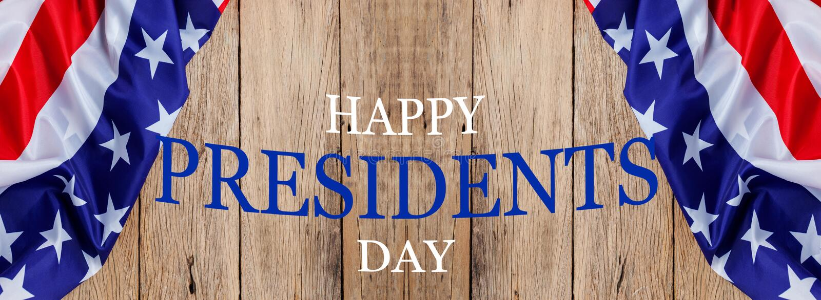 Happy Presidents` Day text on wooden with flag of the United States Border royalty free stock photos
