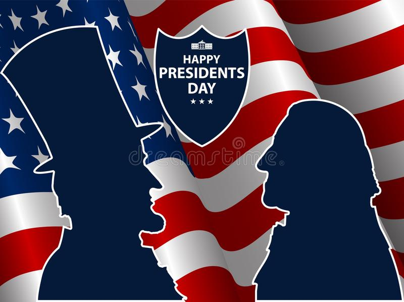Happy Presidents Day in USA Background. George Washington and Abraham Lincoln silhouettes with flag as background. United States of America celebration. Vector royalty free illustration