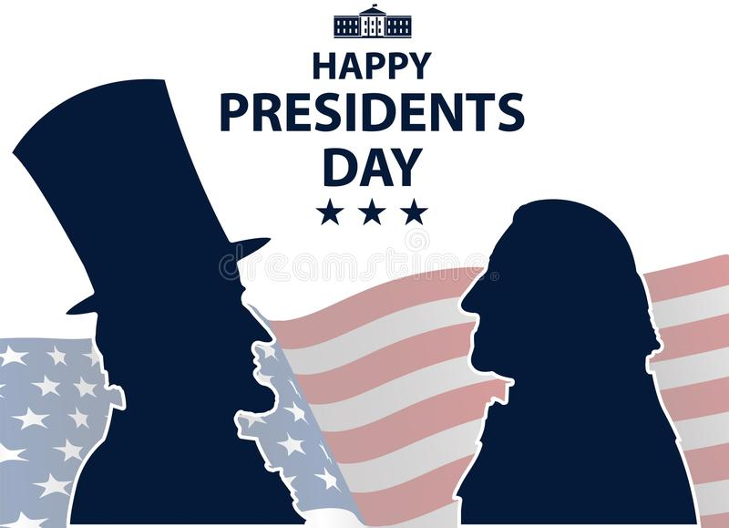 Happy Presidents Day in USA Background. George Washington and Abraham Lincoln silhouettes with flag as background. United States of America celebration. Vector stock illustration