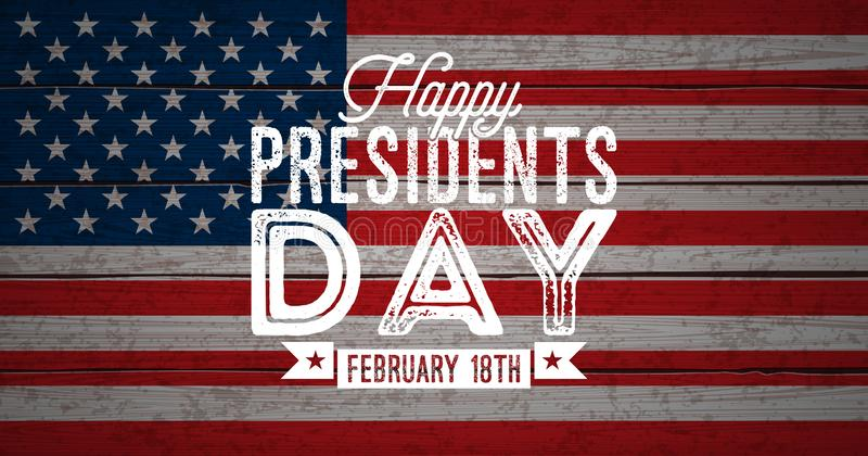 Happy Presidents Day of the USA Vector Illustration. Celebration Design with Flag and Typography Letter on Vintage vector illustration