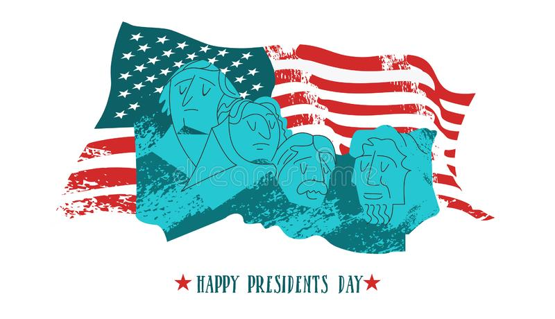 Happy presidents day. Vector illustration, greeting card. Monument on mount Rushmore in the United States containing sculptural. Portraits of four U.S stock illustration