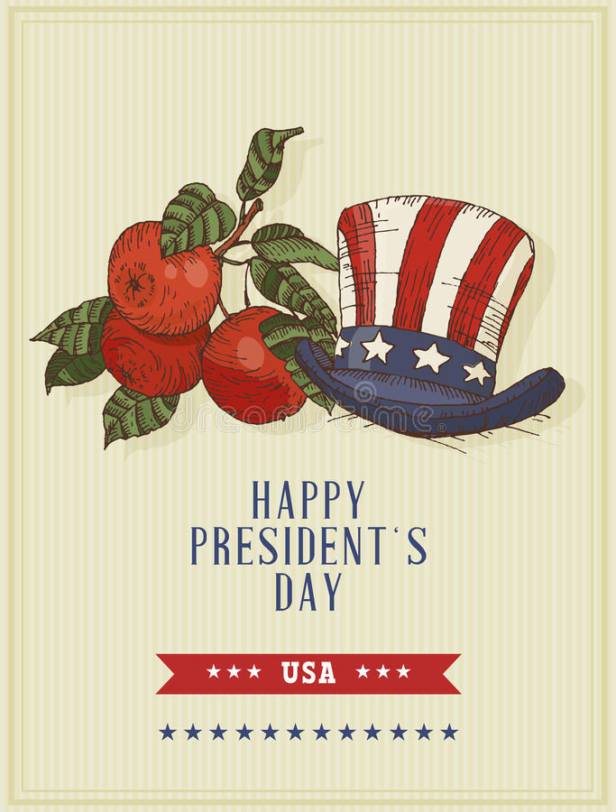 Happy presidents day Vector postcard. Sketch. Happy presidents day. Hand drawn illustration royalty free illustration
