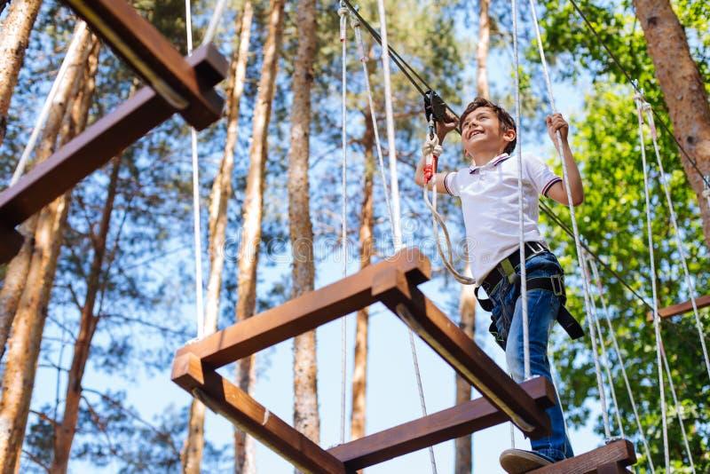 Happy preteen boy climbing bars at rope park royalty free stock photography