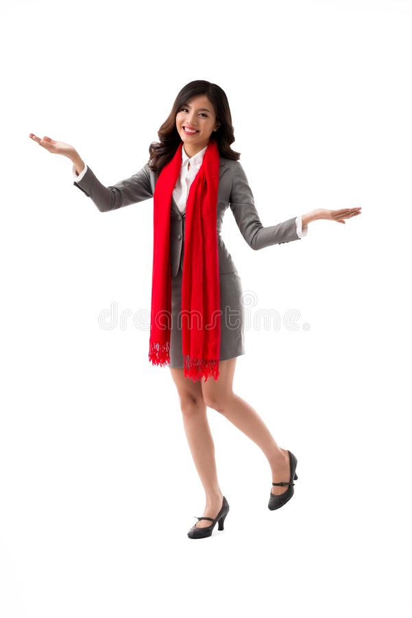 Dancing business lady stock image