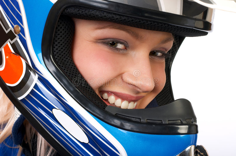 Download Happy pretty biker. stock photo. Image of female, body - 621130