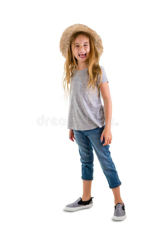 Happy pretty blond girl with long blond hair royalty free stock image