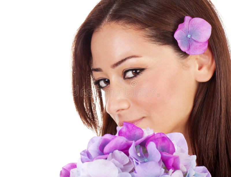 Pretty female in spa salon royalty free stock photography