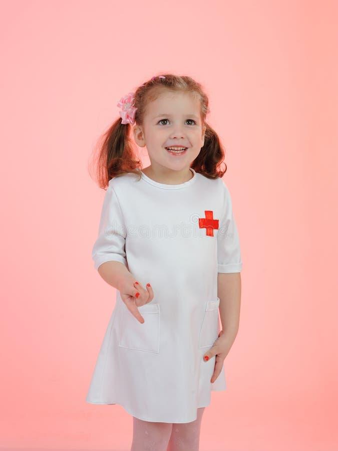 Happy Pretty Little Medical Nurce Girl Royalty Free Stock Photos