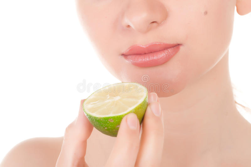 Download Happy Pretty Model Posing With Half Of Lime Stock Photo - Image: 19658410