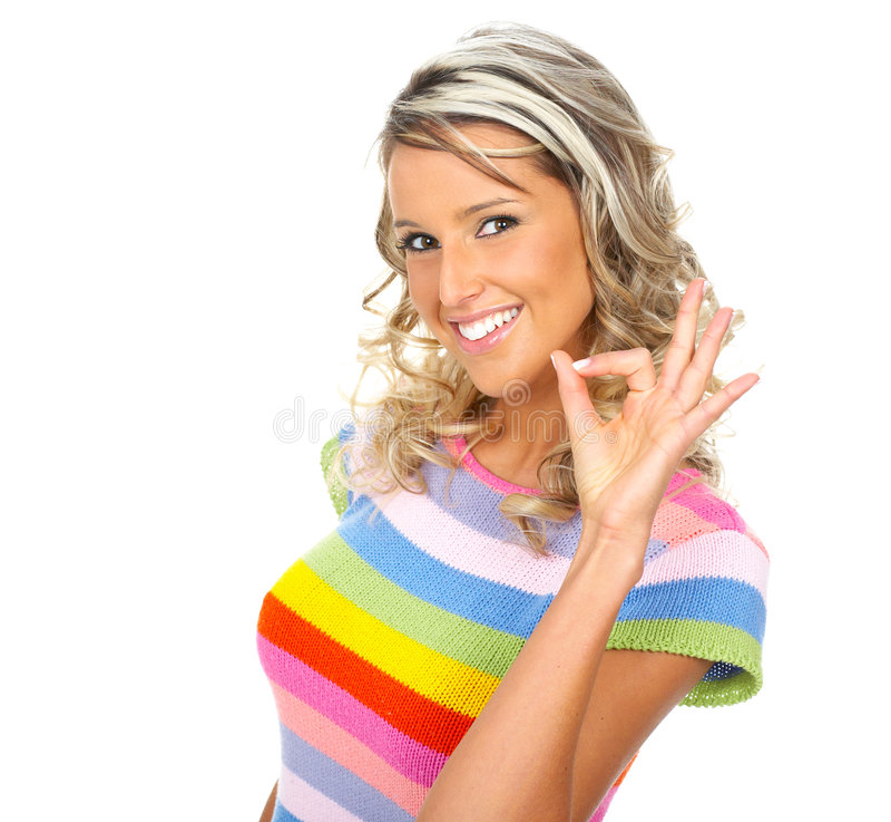 Happy pretty woman stock image