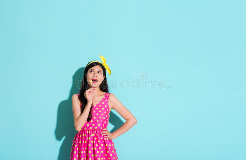 Happy pretty woman wearing cute dress clothing royalty free stock photography