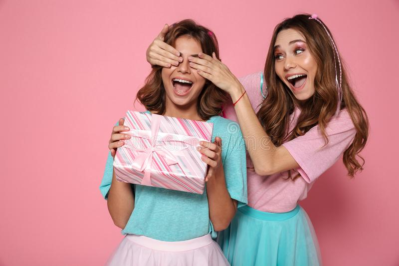Happy pretty young woman covering eyes of her sister giving gift stock images