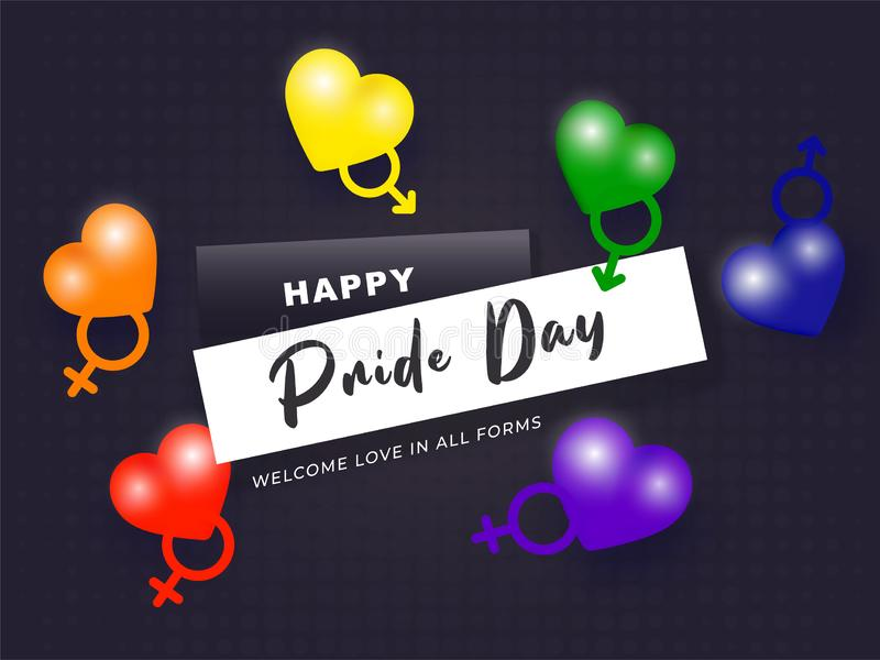 Happy Pride Day concept with Rainbow color hearts symbolic LGBTQ. Happy Pride Day concept with Rainbow color hearts symbolic LGBTQ community stock illustration