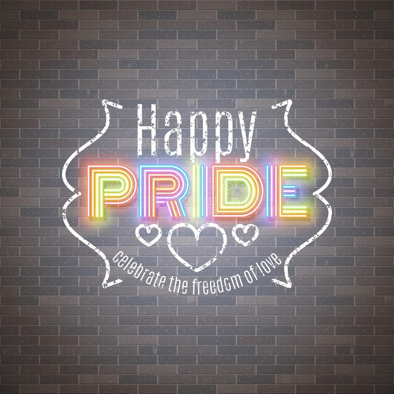 Happy Pride LGBT equality, gay love celebration, neon design, vector illustration royalty free illustration