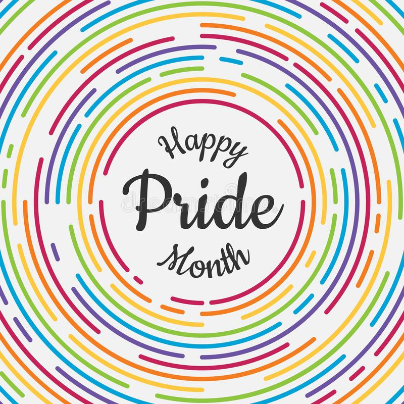 Happy Pride month banner with typography text in abstract colorful rainbow line dash circle texture background vector design vector illustration