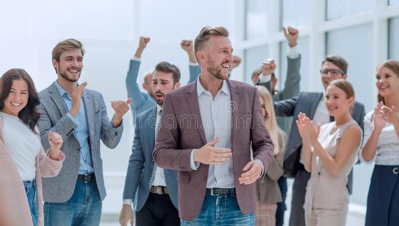 Happy project Manager accepting congratulations of his colleagues. Close up. happy project Manager accepting congratulations of his colleagues stock photos