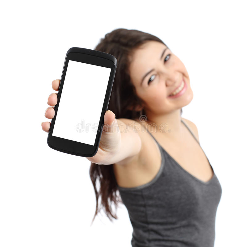 Happy promoter girl showing a blank smart phone screen royalty free stock photo